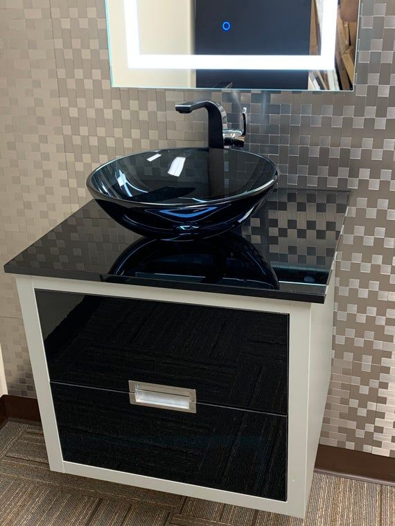 single bathroom vanity silver black