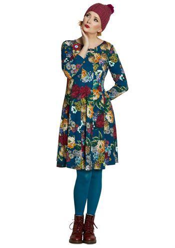 35c1f227e6d du Milde kjole Ninnas Festive Dress . Petrol blå festkjole med blomster