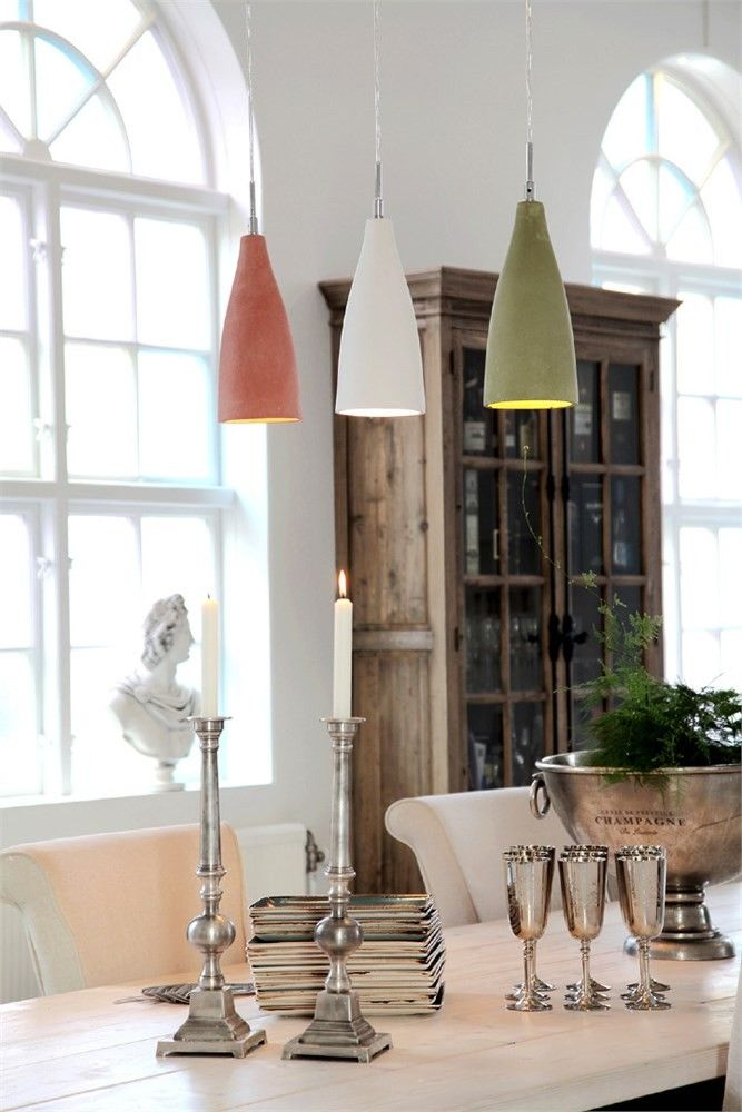 Victorian concrete hanging lamps in red white and green  over a table // Namur - Sessak