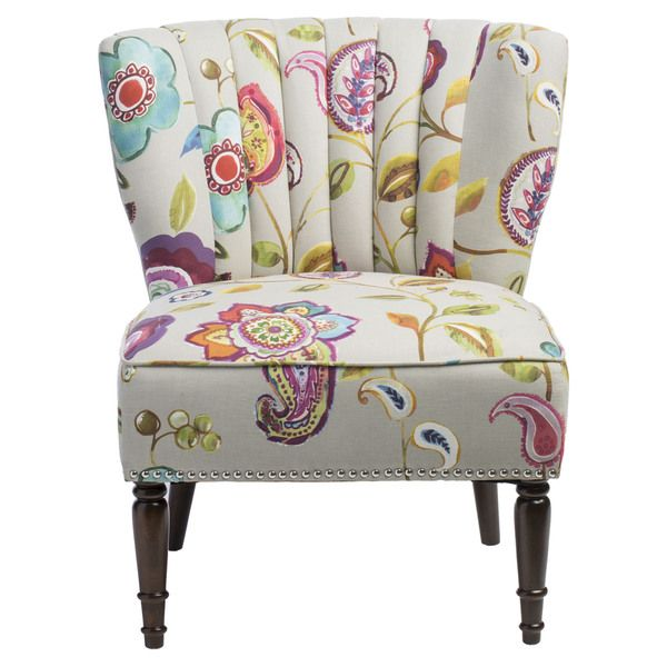 You'll love the vibrant floral pattern on this Tori chair. The channel back creates an interesting appeal and coordinates well with the ribbed legs. Upholstery Materials: 100-percent cotton Set includ