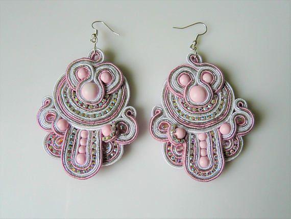 unique pink & white wedding massive soutache earrings