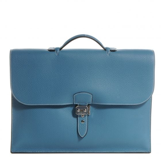 HERMES Taurillon Clemence Sac a Depeche 41 Briefcase Blue Jean