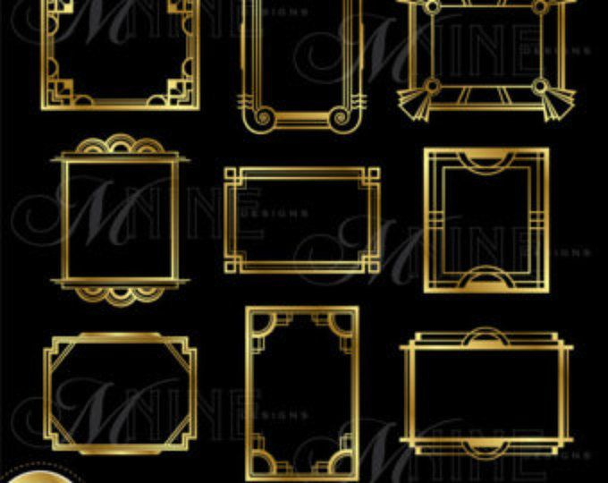 Gold ART DECO Rahmen ClipArt: Art-Deco-Rahmen Design Elemente Deco Grenzen Clipart, sofort-Download