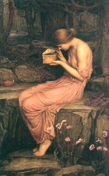 John William Waterhouse - Psyche (1903).  Another Waterhouse favorite of mine.  Curiosity...the temptation to peek always takes over before I can stop it...