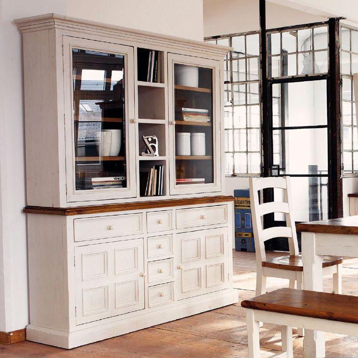 Buffet Bodde Landhaus Kiefer massiv Holz lackiert in weiß und honig 166 cm breit in Möbel & Wohnen, Möbel, Schränke & Wandschränke | eBay!