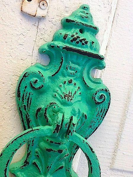 Cast Iron Door Knocker, Spearmint Green, Towel Holder, Kitchen Decor, New Home, Housewarming Gift. $32.50, via Etsy.