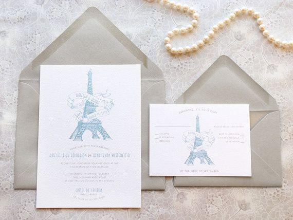 Eiffel Tower Paris Wedding Invitations - French Wedding - Destination Wedding - France Wedding - Romantic Wedding - Parisian Wedding on Etsy, $20.00