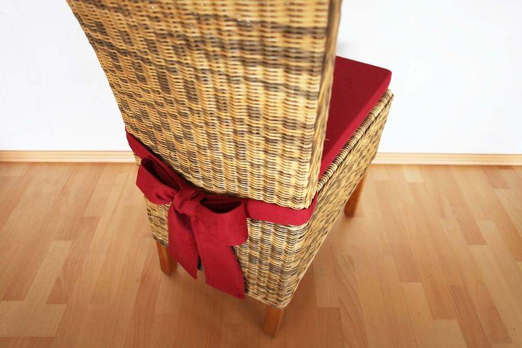 Sitzkissen - Stuhlkissen mit Schleife in der Farbe weinrot.