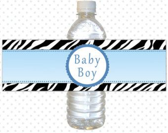 Baby Boy Water fles etiket Baby Boy douche door HuggableMeDesigns