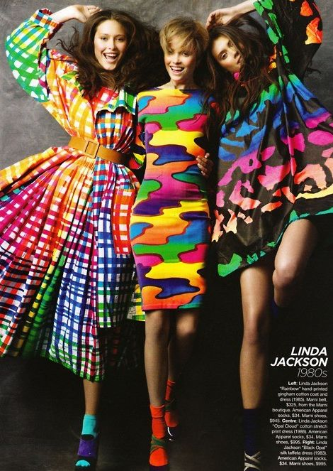 Echo of hippy style still continues in 80s. they use neon colors on their dress, but now more feminil and free style