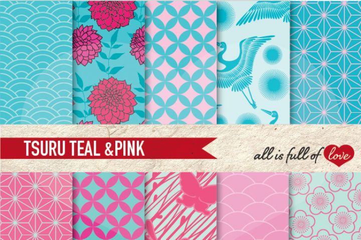 Japanese Digital Paper Pink Teal Blue Background Patterns Tsuru By All is full of love