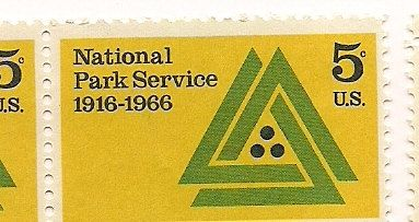 Vintage Yellow Stamps National Park Service 1966.