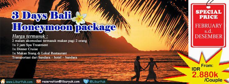 Yuk nikmati moment terindah Anda bersama pasangan Anda di #Pulau #Dewata #Bali sekarang juga, Kini tersedia paket 3 Hari #Honeymoon #Package dengan harga spesial lho!  Dapatkan Spesial Paket tersebut dari #LiburYuk http://liburyuk.com/listpackage/3+Days+Bali+-+Honeymoon+Package #jalan2 #holiday #AbbeyTravel