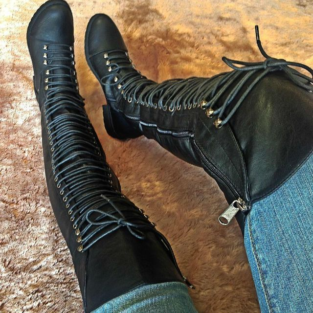 Black Thigh High Combat Boots