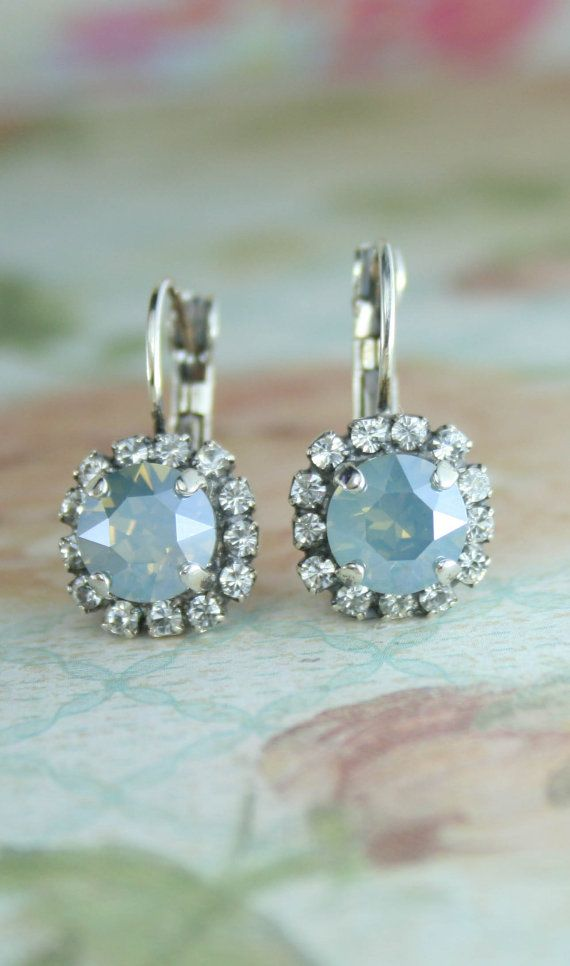 Bridal earrings,Blue Bridal earrings,Dusty blue wedding,Swarovski Crystal Stud earrings,Blue crystal earrings,Crystal earrings,Dusty Blue  Versatile stud for day, night, weddings, parties and formals/proms.  Please note this is the new batch of Dusty blue crystals (photo 1) and they are a little darker/bluer than the previous batch. These crystals are custom made and colour varies between each batch  The mannequin photo is for size reference.  Perfect for dusty blue or powder blue b...