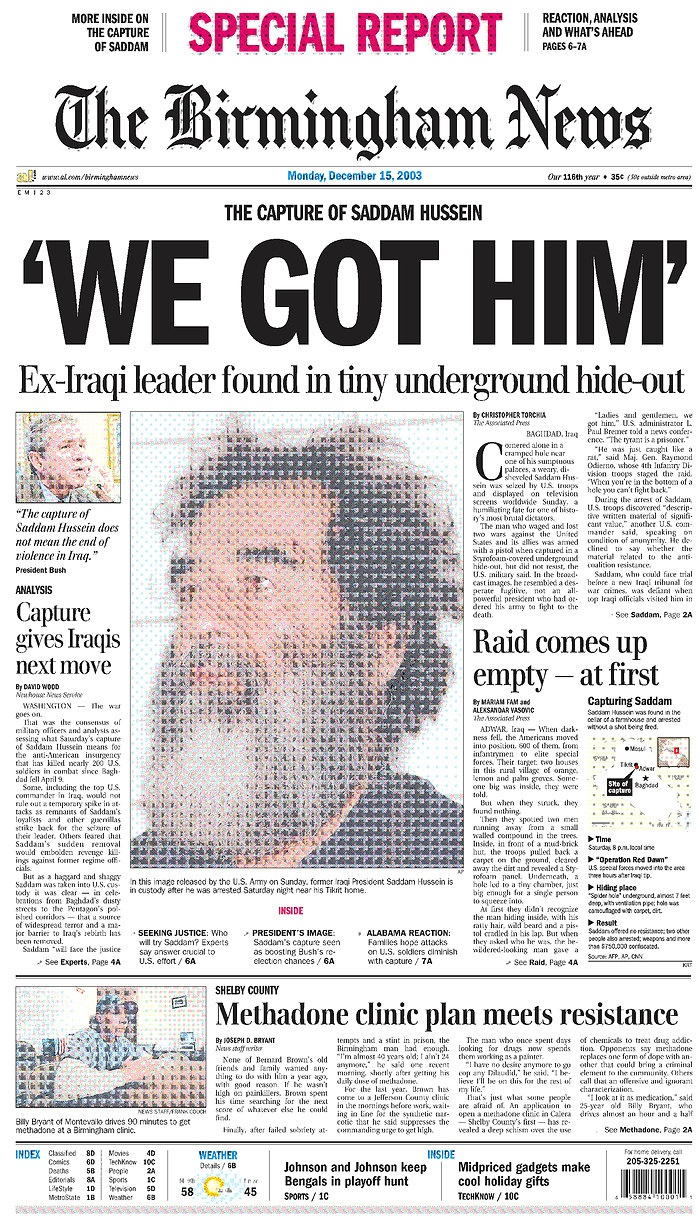 Capture of Sadam Hussein. Bush ws right.  This man was the largest Weapon of Mass Destruction for too many years.