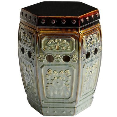 Like most ceramic garden stools, ours can serve as extra outdoor seating, end table or plant stand. Unlike most ceramic garden stools, it's covered with an intricately embossed design and novel glaze that makes it beautiful enough for indoor use.