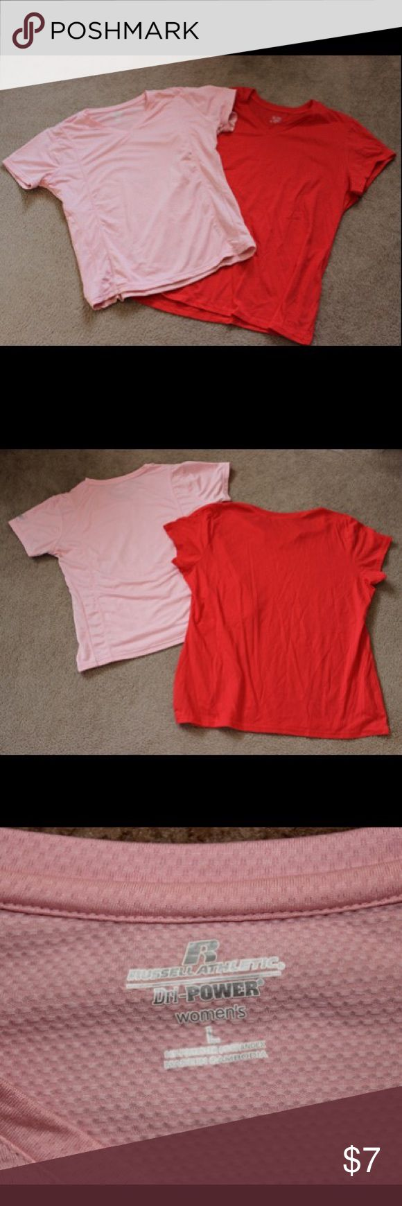 Champion & Russell Tee's Size L & XL Set includes 2 shirts. The pink tee has a v-neck, is made by Russell Athletics, is made of 94% polyester and 6% spandex, and is size Large. The red tee also has a v-neck, is made by Champion, is made of 60% cotton and 40% polyester, and is size XL. Both are in great condition. Worn once, if that. Champion Tops Tees - Short Sleeve