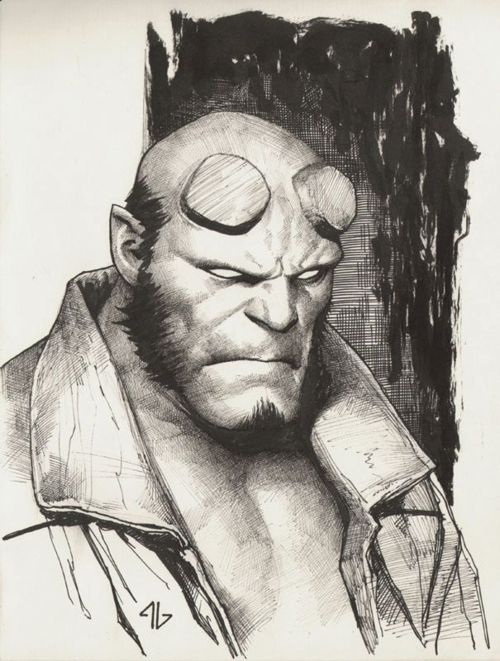You never see Hellboy art quite like this. This is by the great Adi Granov.