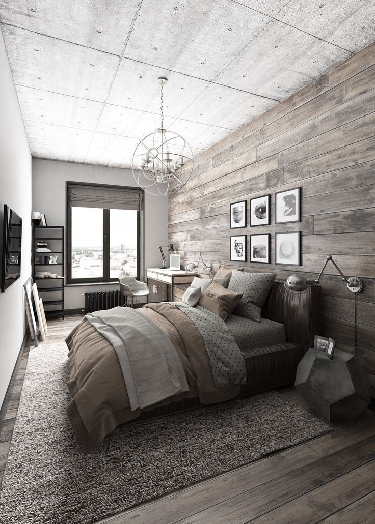 Modern rustic bedroom design with reclaimed wood accent wall and flooring