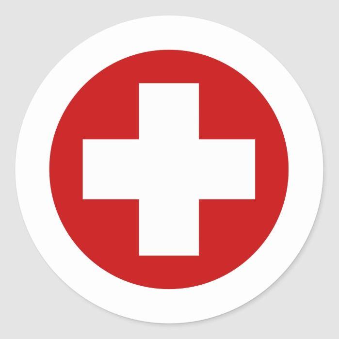 Swiss Red Cross Emergency Roundell Classic Round Sticker Zazzle Com In 2021 Red Cross Swiss Red Red Cross Logo