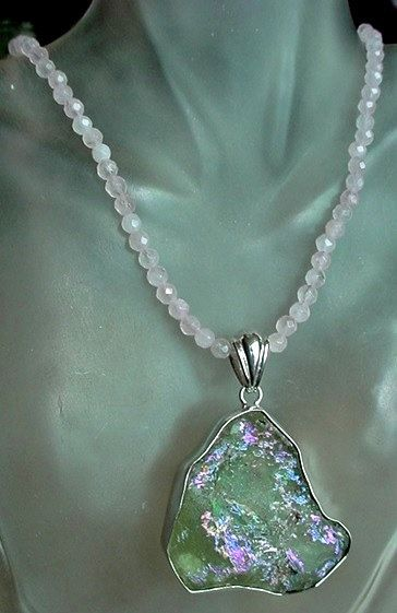 Rose Quartz Necklace c/w Removable Green Pink Color by camexinc