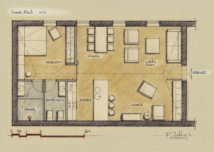 Loft Apartment 75 sqm, Floor Plan, Version 03 - www.pzarch.gr