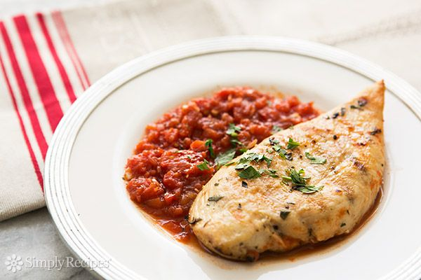 Grilled Chicken with Tomato Tarragon Sauce Recipe Main Dishes with fresh tarragon, olive oil, minced garlic, chicken cutlets, salt, pepper, peel tomato whole, water, shallots, balsamic vinegar, salt, pepper