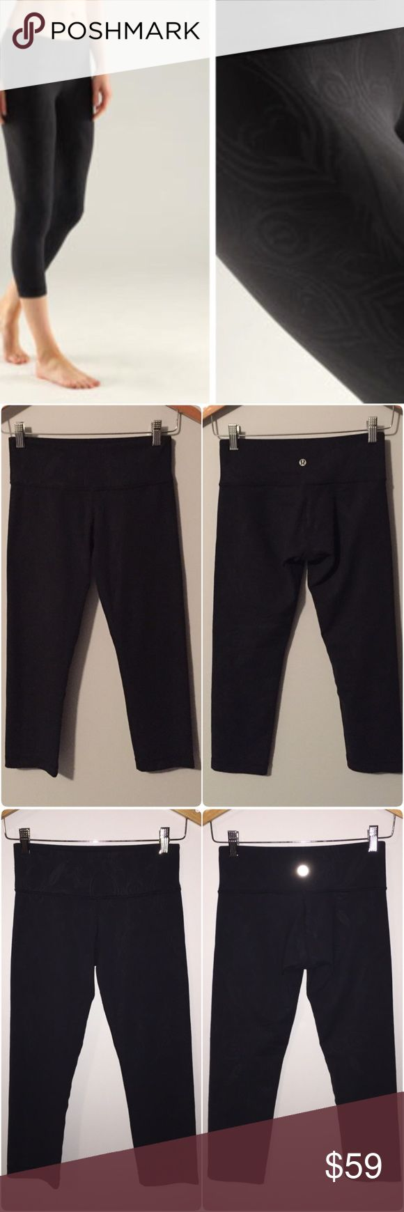 Lululemon wunder under crops Lululemon wunder under crops, size 4, black with peacock print, very unique, gently worn and in great condition with no flaws(meaning no piling, seam damages, rips, stains, holes, etc). Luon fabric is moisture wicking with four way stretch, added Lycra fibre ensures great shape retention, hidden key pocket in waistband, crop length, medium rise, tight fit. Third picture & top two pictures in the fourth image are with the camera flash on, to show you more detail…