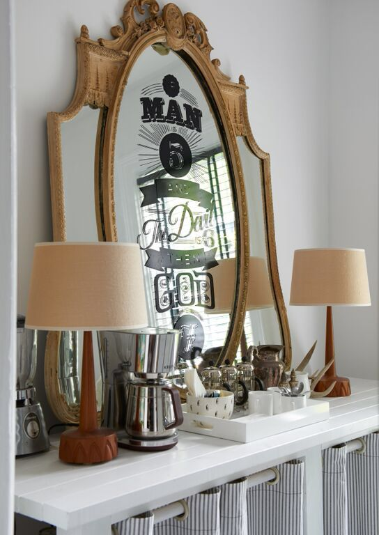 Vintage mirror with Graphics of lyrics by The Pixies.