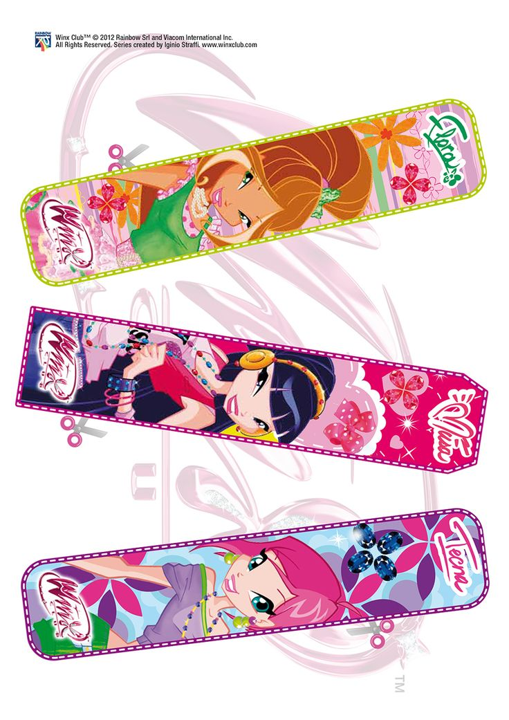 Winx club book marks for birthday party favors.