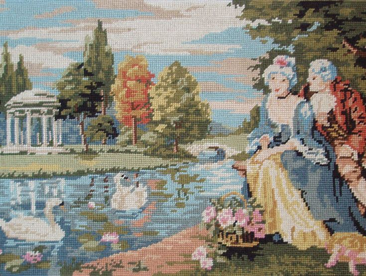 Vintage French needlepoint tapestry canvas by TitaTita on Etsy