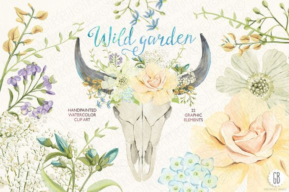 Watercolor wild garden bull skull by GrafikBoutique on Creative Market