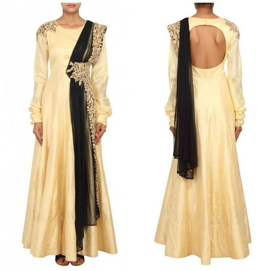 This fabulous Gold raw silk long anarkali suit which is crafted with a gold, sequin and embroidery work. Matching bottom and dupatta attached with this attire. This suit Price is Just Rs 3750/- for more details Whatsapp at +91-9311187463 also visit at: http://www.suit-sarees.com