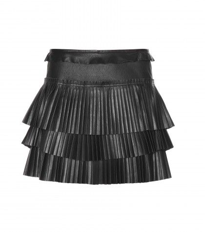 Mini-jupe en cuir plissé à volants Cyan