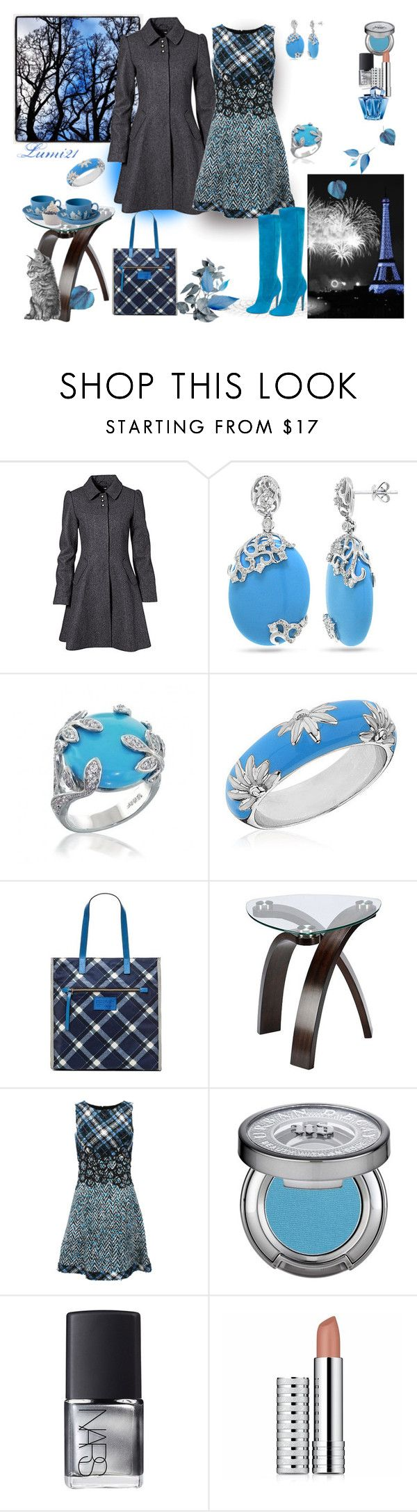 """blue gray"" by lumi-21 ❤ liked on Polyvore featuring H&M, Allurez, Reeds Jewelers, Marc by Marc Jacobs, Oscar de la Renta, Wedgwood, Jimmy Choo, Disney, Urban Decay and NARS Cosmetics"