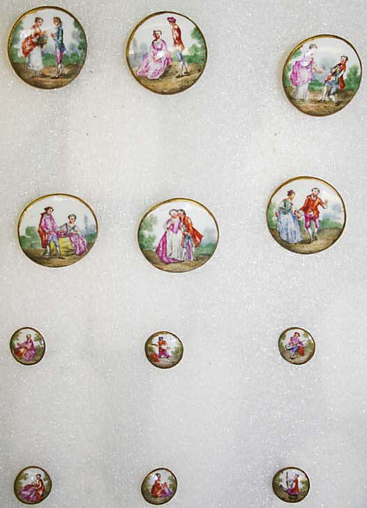 Button, ca. 1785, french, porcelain.