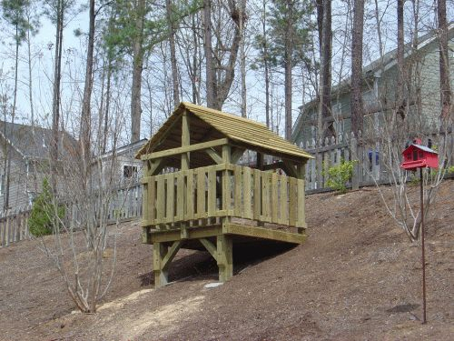 kids forts outdoor | . This was pretty much the backyard, but offered a place for the kids ...