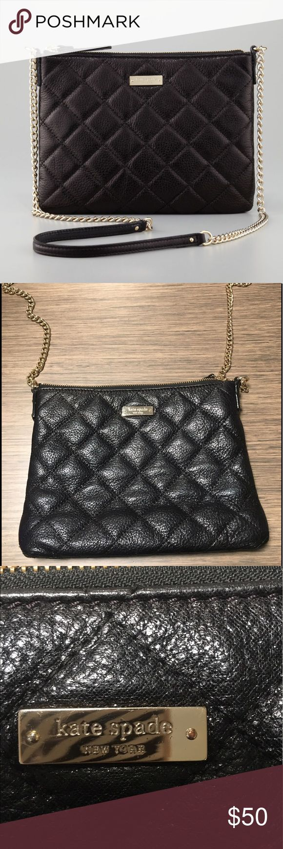 """Kate Spade Gold Coast Ginnie Crossbody In excellent condition, rate 9/10. Black quilted pebbles leather, golden/silver hardware chain, chain and leather strap has 22 1/2 drop, zip top, cream fabric lining, interior has two open pockets and one zip pocket, 8""""H x 10"""" W x 1"""" D kate spade Bags Crossbody Bags"""
