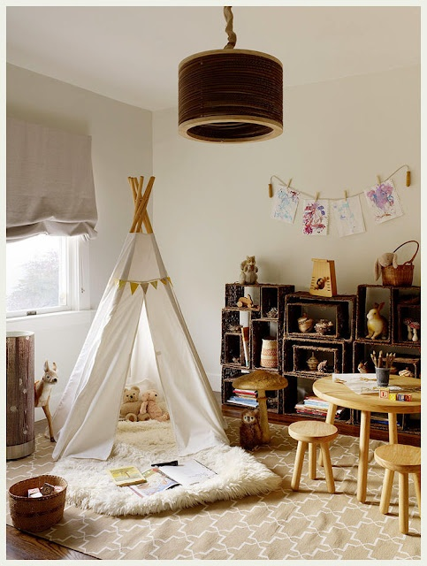 Small soft plush rug + teepee = awesome cozy reading spot!