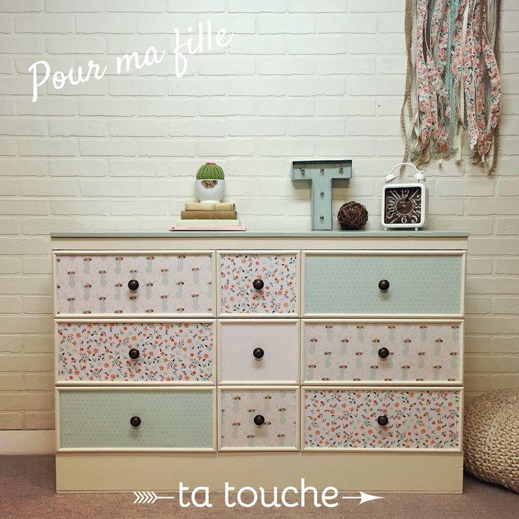 Pour ma fille - commode pour chambre d'enfant relookée par ta touche - relooking de meubles (atelier situé à Chambly)