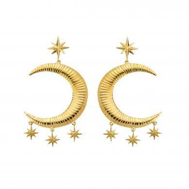 Freya Cresent Earrings Pair Gold NEW!