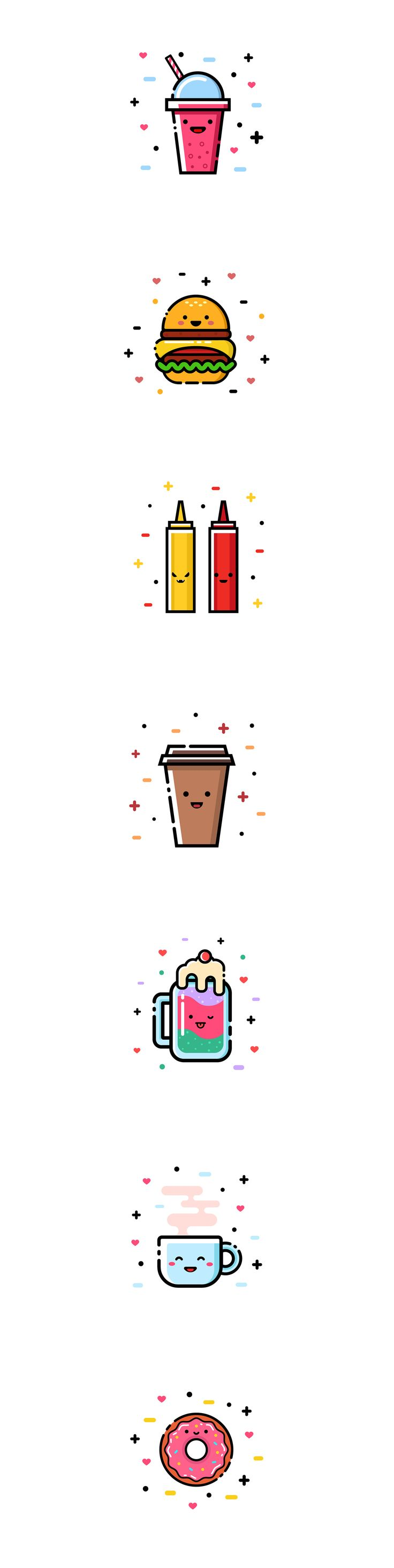 Cute fast food. Icon collection on Behance. coffee, smoothies, ketchup and mustard, ice cream, tea, mug, vector, line, juice, beverage, funny, donut
