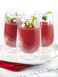 Recept » Colruyt Culinair (rode bietensoepje met appel en geitenkaas)