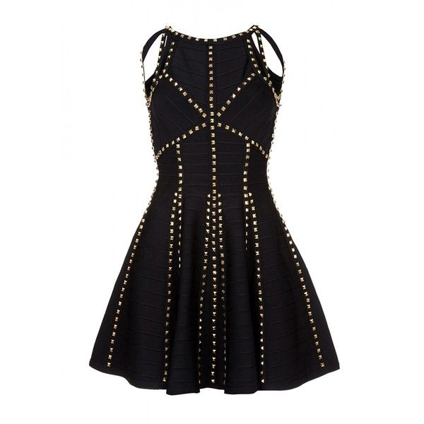 Black skater bandage dress with cut out neckline (383.385 CLP) ❤ liked on Polyvore featuring dresses, cutout dresses, cut out dress, cut out bandage dress, bandage cocktail dresses and gold beaded dress