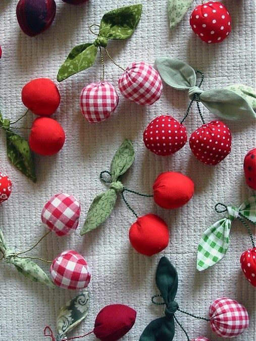 """Cherries, Great idea for my """"Theme Tree"""" It looks somewhat bare in the summer. These would perk it up!"""