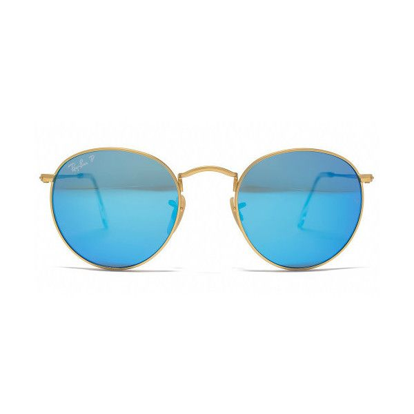 Ray-Ban Round Metal Polarised Sunglasses (11.115 RUB) ❤ liked on Polyvore featuring accessories, eyewear, sunglasses, glasses, blue, round sunglasses, round mirror sunglasses, metal sunglasses, uv protection sunglasses and mirrored lens sunglasses