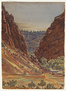 Albert Namatjira, 'The Gorge (Simpsons Gap)', c.1945, watercolour, National Gallery of Australia, Canberra, Gift of Gordon and Marilyn Darling, celebrating the National Gallery of Australia's 25th Anniversary, 2009