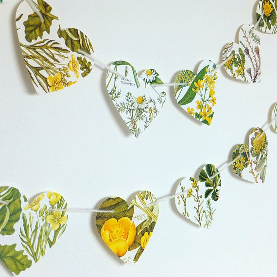 Heart garland Yellow flowers bunting Natural Wedding decor