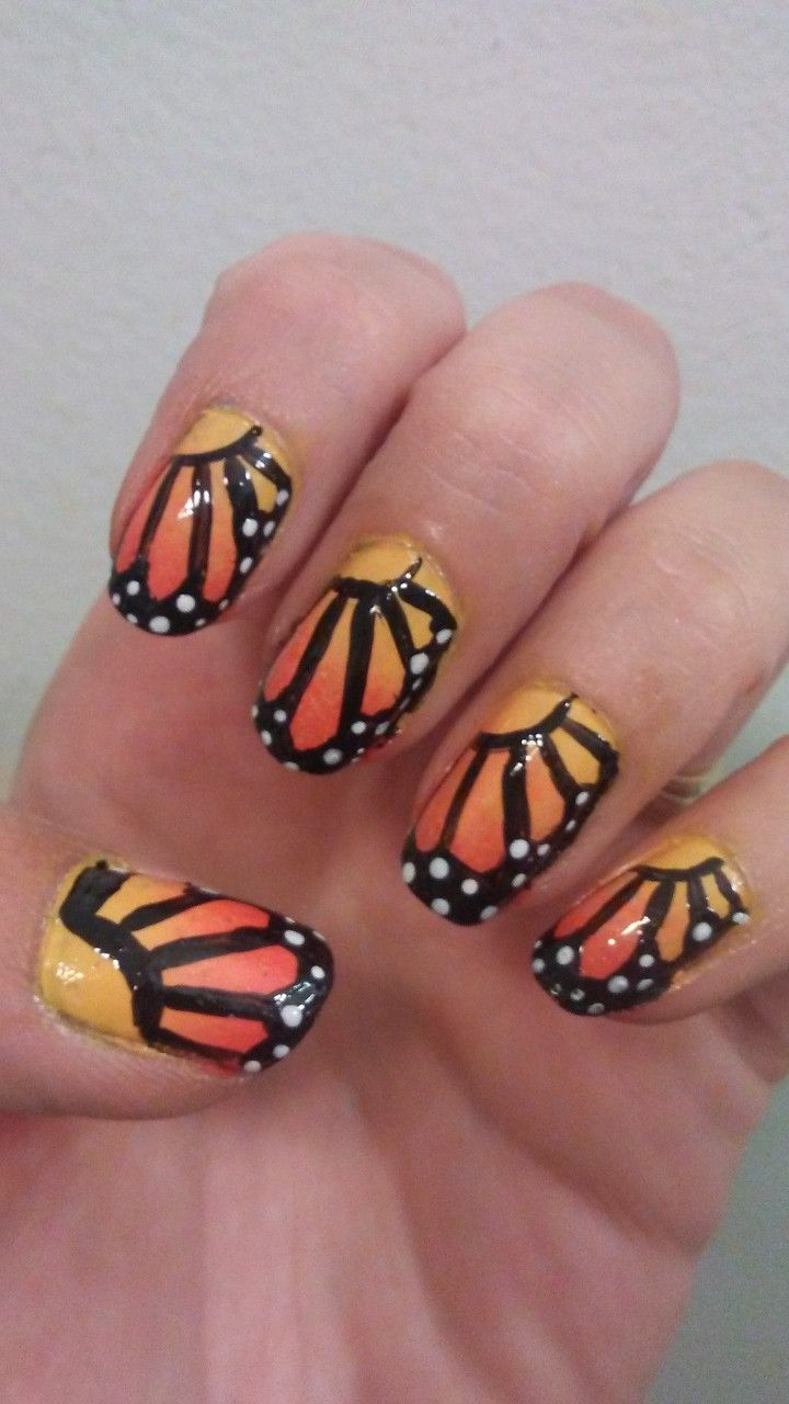 Monarch Butterfly Nails Butterfly Nail My Nails Nail Art